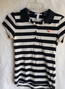 Black White Striped Capped Sleeve Polo T Top S